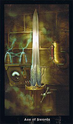 STEAMPUNK TAROT - Ace of Swords --  If you love Tarot, visit me at www.WhiteRabbitTarot.com