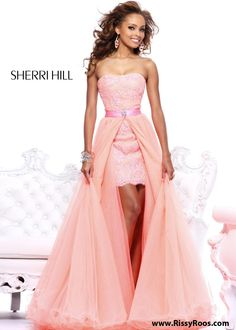 Coral Beaded Lace Hi Lo Prom Dress with a Detachable skirt - Sherri Hill 21165 - RissyRoos.com