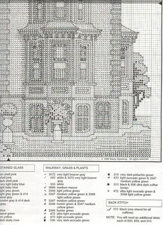 FULTON MANSION 04 Cross Stitch House, Cross Stitch Books, Cross Stitch Charts, Cross Stitch Designs, Cross Stitch Patterns, Cross Stitching, Cross Stitch Embroidery, Victorian Cross Stitch, Cross Stitch Numbers