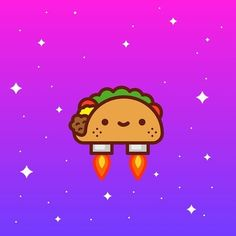 cute, space, kawaii, taco from New trending GIF By Jose Diaz /I Am The Videographer Has Gone Viral Again After Being Shared on Giphy Cute Illustration, Character Illustration, Cute Characters, Cartoon Characters, Burritos, Taco Drawing, Pink Taco, Lets Taco Bout It, Taco Cat