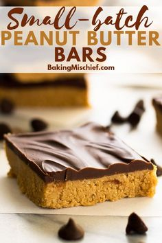 These fabulous Small-batch Peanut Butter bars are so easy to make--maybe too easy. Small Desserts, Mini Desserts, Frozen Desserts, Easy Desserts, Delicious Desserts, Dessert Recipes, Peanut Butter Desserts, Peanut Butter Bars, Coconut Desserts