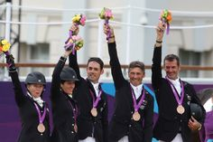 New Zealand's Jonelle Richards, Caroline Powell, Jonathan Paget, Andrew Nicholson and Mark Todd after winning Bronze in the Equestrian Eventing, held at the Equestrian venue at Greenwich Park. Olympic Team, Olympic Games, Greenwich Park, Role Models, Equestrian, Olympics, New Zealand, Athlete, Daughter
