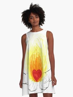 A-Line Dress - Love fire in my hands. #alinedress #dress #fashion #apparel #clothing#love #fire #hands #onfire #give #faith #light #heat #warm #openmind #spirituality #heart #deep