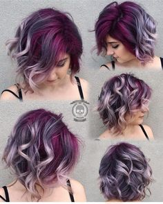 Gorgeous colorful hair || deep purple lavender silver gray hair color