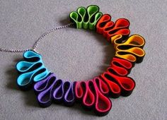 Felt necklace rainbow multicolor beads by IfffkaDesign on Etsy, Could be done with polymer clay.Items similar to Feutre collier arc-en-ciel multicolore perles on Etsyfolded felt, skewered with wire, simple striking ideaA very original necklace, handm Quilling Jewelry, Paper Jewelry, Textile Jewelry, Fabric Jewelry, Paper Beads, Jewelry Crafts, Handmade Jewelry, Handmade Felt, Beaded Jewelry
