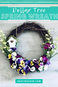 Get your home ready for spring with this DIY Dollar Tree spring wreath. It looks as gorgeous in the house displayed on a wall as it does on your front door so don't be afraid to hang it wherever you need a little extra brightness in your home. #dollartree #springwreath #diywreath #dollarstorewreath #craftrocker Dollar Tree Fall, Dollar Tree Decor, Dollar Tree Crafts, Wreath Crafts, Wreath Ideas, Diy Wreath, Spring Projects, Craft Projects, Fall Wreaths
