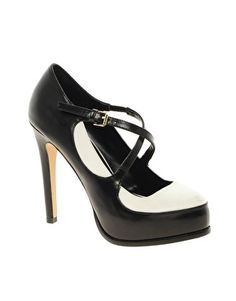 cute concealed platform sole high stiletto heal black & white