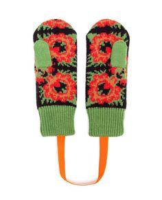 TAK.ORI   Merino Wool Flower Pattern Mittens