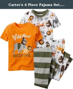 Carter's 4 Piece Pajama Set, Wild About Bedtime, 12 Months. Carter's is the leading brand of children's clothing, gifts and accessories in America, selling more than 10 products for every child born in the u.S. Their designs are based on a heritage of quality and innovation that has earned them the trust of generations of families.
