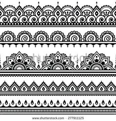 Mehndi, Indian Henna tattoo seamless pattern, design elements by RedKoala…