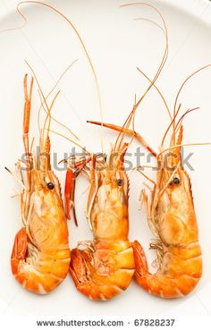 Whole grilled prawns on a white plate by Sura Nualpradid, via Shutterstock