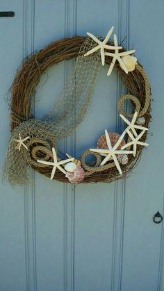 Seashell wreath Nautical wreath Beach wreath by MonBeauJardin, Nautical Wreath, Seashell Wreath, Nautical Home, Seashell Crafts, Beach Crafts, Diy Crafts, Nautical Craft, Coastal Wreath, Summer Crafts