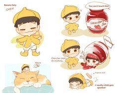 Exo Cartoon, Exo Anime, Exo Fan Art, Xiuchen, Short Comics, Exo Memes, Cute Chibi, Kpop Fanart, K Idols