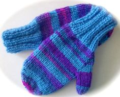 Child's Mittens Hand Knit Blue and Purple Variegated by lastrose, $6.50