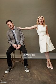 David Duchovny and Gillian Anderson of FOX's 'The X-Files' pose in the Getty Images Portrait Studio at the 2016 Winter Television Critics Association press tour at the Langham Hotel on January 15, 2016 in Pasadena, California.