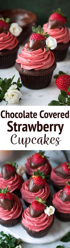 Chocolate Covered Strawberry Cupcakes - these are one of the BEST cupcakes you'll ever eat! A rich, moist chocolate cupcake is topped with a boldly flavored, natural strawberry frosting and it's finished with a fresh chocolate covered strawberry. A cupcak Just Desserts, Delicious Desserts, Dessert Recipes, Fun Cupcakes, Cupcake Cakes, Cupcake Ideas, Gourmet Cupcakes, Easter Cupcakes, Flower Cupcakes