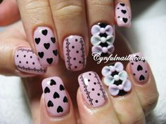 The bows would be super cute like that.... But the other nails shouldn't be so busy. Just my opinion :)