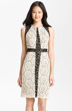 Donna Ricco Contrast Lace Overlay Sheath Dress available at #Nordstrom