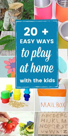 Easy ways to play at home with kids. Enjoy indoor and outdoor games and crafts. #parenting #earlyyears #preschoolgames Movement Activities, Home Activities, Kids Mailbox, Easy Games For Kids, Types Of Play, Homemade Instruments, Sand Play, Easy Science, Up Game