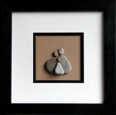 "Beach Pebble Art Stone Pictures ""We Three - Family"" Christmas, Birthday, Family Gift FREE SHIPPING within the USA"