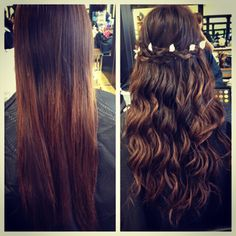 Before and after waterfall braid with #flowercrown. By Bridgette Ruelas Varela