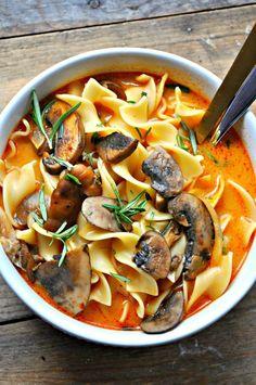 Wild Mushroom Stroganoff Soup Vegan wild mushroom stroganoff soup--I'm not vegan, so I'd go ahead and use cream.Vegan wild mushroom stroganoff soup--I'm not vegan, so I'd go ahead and use cream. Vegan Soups, Vegan Dishes, Vegetarian Recipes, Healthy Recipes, Vegetarian Soup, Vegan Meals, Healthy Mushroom Recipes, Baby Bella Mushroom Recipes, Italian Soup Recipes