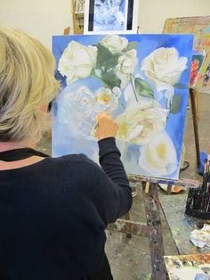 Student Kathy painting the roses  on her artwork during our Painting – Open Workshop with Stavros Papantoniou held each Wednesday at WWAS