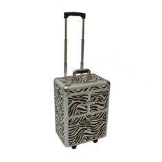 Zebra Pro Cosmetic Beauty Train Wheeled Case Aluminum Rolling Makeup Case