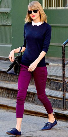 Ann Taylor collar sweater (on sale now!), wine-colored cropped trousers and navy oxfords.