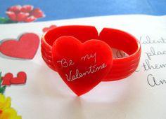 Vintage Red Plastic Childs Heart Cuff Bracelet Valentine Bakelite Era | eBay