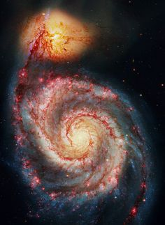 The Whirlpool Galaxy, also known as Messier 51a, M51a, or NGC 5194, is an interacting, grand-design, spiral galaxy appearing in the constellation Canes Venatici. Recently it was estimated to be 23 ± 4 million light-years from the Milky Way Galaxy.