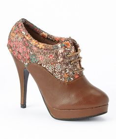 Another great find on #zulily! Brown Embroidered Flower Pump Bootie by Marilyn Moda #zulilyfinds