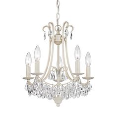 Victorian in style the metal work is modernized with an antique cream finish and dressed with cut crystals that sparkle and refract light.Feat...