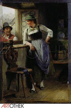 Kauffmann, Hugo,1844-1915: Bursche und Mädel am Fenster.