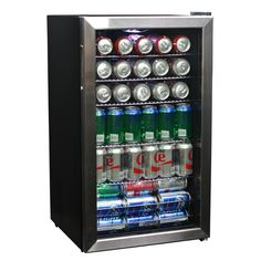 NewAir Beverage Cooler and Refrigerator, Mini Fridge with Glass Door, Perfect for Soda Beer or Wine, Capacity, Stainless Steel