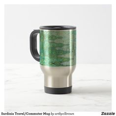 You don't have to give up style for the function of a top-notch travel mug. The Sardinia Travel/Commuter Mug designed by Artist C.L. Brown features abstract kinetic light painting edited for design for an elegant, modern look in shades of varied blues, verdant greens, and Etruscan yellows that you'll love. Zazzle's commuter mugs feature a rubber-lined lid for a tight, spill-resistant seal, twist the lid to reveal the sip opening! Double-walled stainless steel helps will keep your drink of…