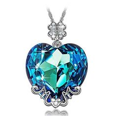 LADY COLOUR Valentines Gifts for Her, Best Mom Gifts, Blue Heart MOM Pendant Necklace Made with Swarovski Crystals, Lucky Clover Design Hypoallergenic Jewelry Gift Box Packing - Bijou MarketPlace Swarovski Crystal Necklace, Crystal Jewelry, Swarovski Crystals, Crystal Pendant, Blue Crystals, Diamond Pendant, Gold Pendant, Swarovski Gifts, Clover Necklace