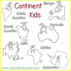 Loving these Continents coloring sheets from 1plus1plus1equals1.com - great way to practice the concepts learned in Teach My Toddler Continents and Animals! http://www.1plus1plus1equals1.com/Continent_Kids.pdf http://www.teachmy.com/teach-my-toddler-continents-animals.html #continents #coloring #printables