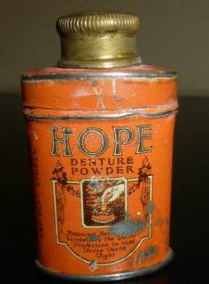 HOPE Denture Powder Small Orange Tin USA New York False Teeth Dental Apothecary