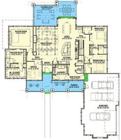Three Bedrooms with the Option for Three More - 64438SC floor plan - Main Level