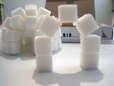 These sugar cube igloos are a fun and interactive Canadian craft for teaching kids about the history of the Inuit people. They also make wonderfully unique Canadian party decorations! Canadian Party, Igloo Craft, Sugar Cubes, Canada Day, Candles, How To Make, Crafts, January, School