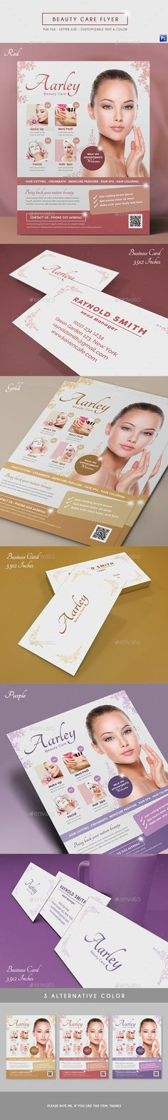 Beauty Care Flyer Business Card by arifpoernomo This Beauty Care Flyer, can be used for promote your beauty care, salon, cosmetic, spa, beauty clinic, etc. File features : Fl