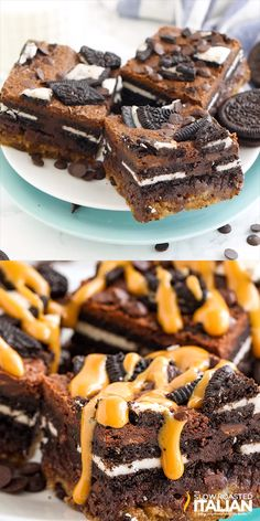 Best Ever Slutty Brownies are out of this world delicious! This decadent combination of fudgy brownies, chewy chocolate chip cookies, a layer of Oreo cookies, and a drizzle of caramel is perfect for sharing and always a hit! Brownie Recipes, Cookie Recipes, Dessert Recipes, Chewy Chocolate Chip Cookies, Chocolate Desserts, Oreo Cookies, Chocolate Cake, Delicious Desserts, Desert Recipes
