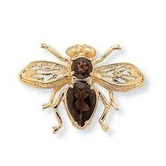 Angelina D'Andrea 14k Goldplated Smoky Quartz Bee Pin