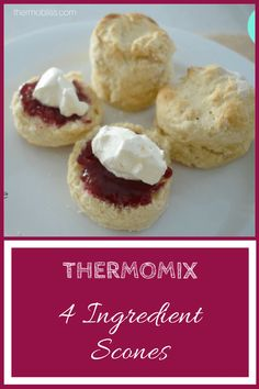 I've been making these four ingredient scones for a few years now and while it's always been quick and easy to put together, using a Thermomix makes it dangerously easy to have a batch of these little beauties in the oven in no time at all. Thermomix Scones, Thermomix Desserts, Lunch Box Recipes, Dessert Recipes, Scone Recipes, How To Make Scones, Bellini Recipe, Cooker Recipes, Sweet Recipes