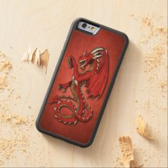Trendy Dragon Tattoo Art Design On Red Grunge Carved® Maple iPhone 6 Bumper Case