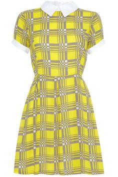 Square Print Collar dress in yellow