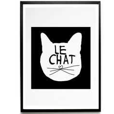 """""""Le Chat"""" Print by Mini & Maximus PAPER/INK: Water based ink on recycled paper Sold unframed but will easily fit into Ikea NYTTJA or RIBBA frames. Crazy Cat Lady, Crazy Cats, Illustrations, Illustration Art, Photo Chat, I Love Cats, Cat Art, Just In Case, Cat Lovers"""