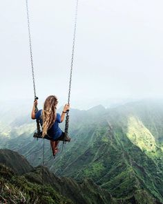 Swing at the top of The Haiku Stairs in Oahu, Hawaii