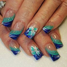 Nice easy nail art designs 2016 Are you tired of single-toned nails and the same old and boring patterns? Looking for some nail art inspiration? Get ready for some manicure magic with these hot and amazing nail art designs. Nail Art Designs 2016, Blue Nail Designs, Simple Nail Art Designs, Easy Nail Art, Blue Design, Green Nails, Blue Nails, Hawaiian Nails, Tropical Nail Art
